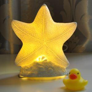 (Entrepôt UE) Moderne Simple LED étoile de mer créative  Chambre chevet petite lampe de table céramique protégée les yeux
