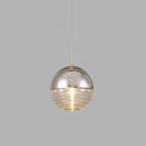 Lustre Poli Argent 1 lampe strié Verre Globe Salle à manger Pendantif