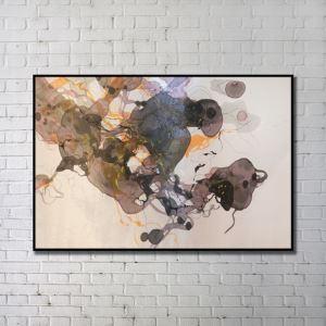 """Art contemporain Peinture numérique abstraite de pulvérisation+Peints à la main cadre noir Taille48""""X32"""""""