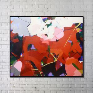 """Art contemporain Peinture numérique abstraite de pulvérisation+Peints à la main cadre noir Taille48""""X36"""""""