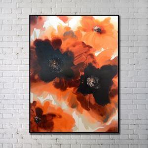 """Art contemporain Peinture numérique abstraite de pulvérisation+Peints à la main cadre noir Taille36""""X48"""""""
