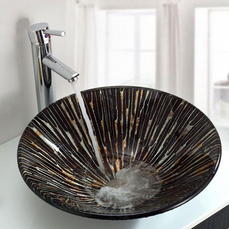 vasque poser verre tremp forme de champignon rond pour salle de bains. Black Bedroom Furniture Sets. Home Design Ideas