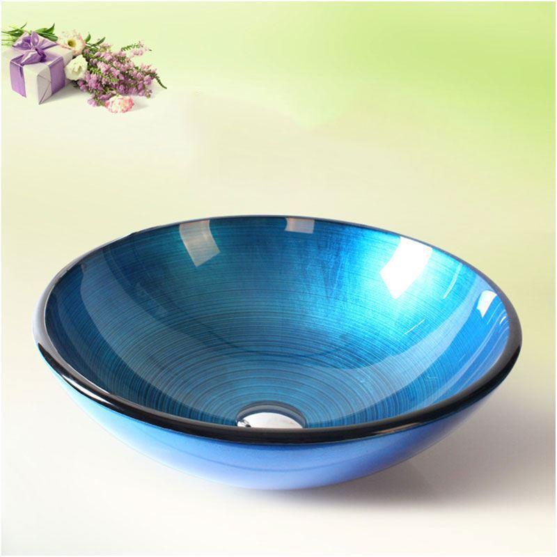 Vasque Salle De Bain Verre Trempe : Vasque à poser verre trempé feuille rond pour salle de bains