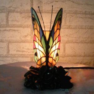 (Entrepôt UE) Tiffany Vitrail Style Papillon 5 Inch Mini lampe accentuée de Nuit