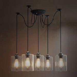 (Entrepôt UE) Cylindre Clair Verre cinq lampes Lustre dans Industriel Style