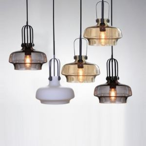 (Entrepôt UE) Style Industriel Coloré en Verre lampes suspendues