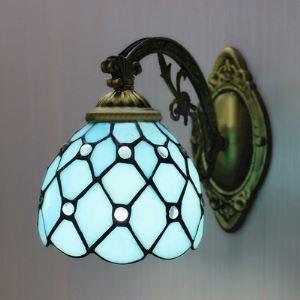 (Entrepôt UE) Bronze Ornée Bleu Vitrail Tiffany Une-lampe Applique murale