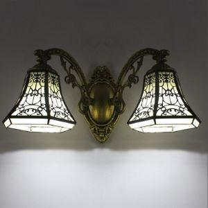 (Entrepôt UE) en forme de cloche Loge Style 2 Lampes Tiffany Lampe murale