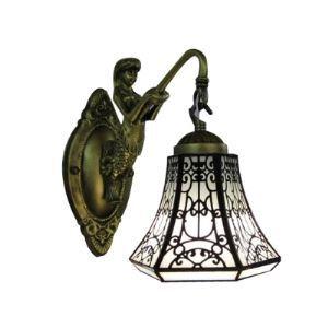 Sirène-Support Bronze Finition salle de bain Lampe Miroir avec Un abat-jour Tiffany en forme de Cloche
