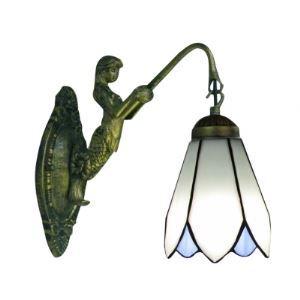 (Entrepôt UE) Sirène-Support Bronze Finition salle de bain Lampe Miroir avec un abat-jour Tiffany vers le bas