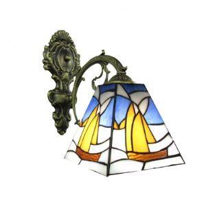 (Entrepôt UE) Enchanteur Bronze Finition salle de bain Lampe Miroir avec un abat-jour Tiffany vers le bas