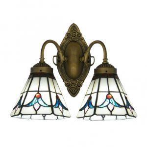 (Entrepôt UE) Euro Deux Lampes Lampe pour salle de bain Caractéristiques Tulipe Verre abat-jours et Base en Fer Forgé