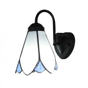 Poli Fleur Lampe unique Tiffany Applique murale Noir Finition