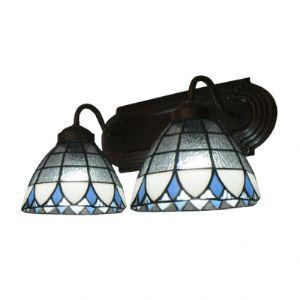 (Entrepôt UE) Deux Lampes 7 Inches Haut Tiffany Trois Tones Verre abat-jours Café Lampe pour salle de bain