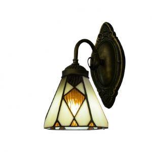 (Entrepôt UE) Excellente lampe pour salle de bain dans Bronze Finition avec Tiffany Verre abat-jour lampe Miroir