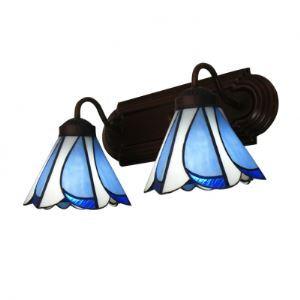 (Entrepôt UE) 14 Inches large Café Finition Lampe pour salle de bain Délicate avec Tiffany Verre abat-jours