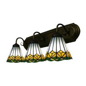 (Entrepôt UE) Bronze Finition Lampe pour salle de bain avec Trois abat-jours vers le bas dans style Tiffany