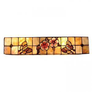 (Entrepôt UE) Stupéfiant Vingt Inches Fait à la main Tiffany Lampe murale avec Fleur-papillons Décor