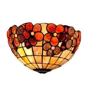 (Entrepôt UE) Brilliant Tiffany Douze Inch Lampe murale avec Fleur Rouge Décor dans Style Rustique