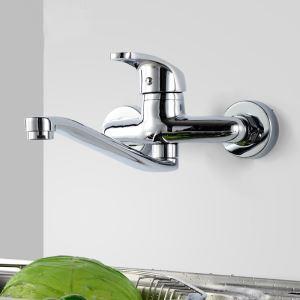 Afficher les détails pour Robinet de cuisine en laiton solide L18cm pour salle de bain contemporaine