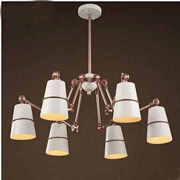 Lustre à 6 Lampes H80cm Araignées Blanc Or Fer Design Pour Salon Cuisine