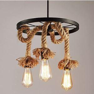(Entrepôt UE) Rural Corde de Chanvre Lustre lampes et lanternes Industrie Restauration Roues