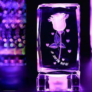 1PC Cristal Rose Décorative Ameublement Articles Cadeaux veilleuse lampe de nuit