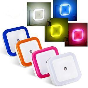 KWB 4PCS 0.5 W Bleu Rouge Jaune Blanc naturel AC Imperméable Capteur Lampe de nuit veilleuse AC 220-240 V Plastique