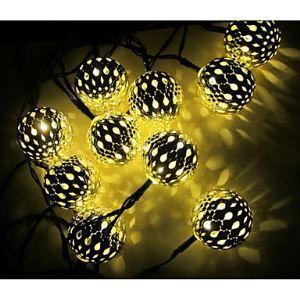 (Entrepôt UE) Solaire Led Chaîne de lampe avec 10Led Balle 1.2V Fête lampe décoration Noël Lampes De plein air Lumière