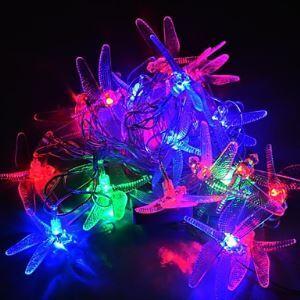(Entrepôt UE) 4M 20LEDs RGB LED Libellule Chaîne de lampe Noël Chaîne de lampe pour Décoration (AC 110-220V)