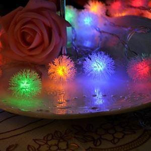 (Entrepôt UE) 20-LED 4M Imperméable Noël Décoration neige Pompon RGB Lampe LED Chaîne de lampe (220V)