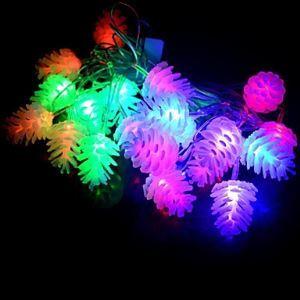 (Entrepôt UE) 20-LED 4M Imperméable Noël Décoration Pomme de pin RGB Lampe LED Chaîne de lampe (220V)