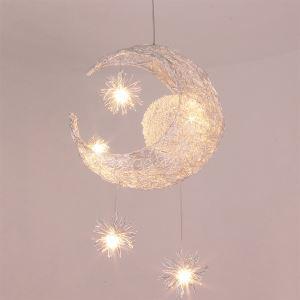 (Entrepôt UE) (En Stock) Lune étoile lampe pendentif avec 5 lampes
