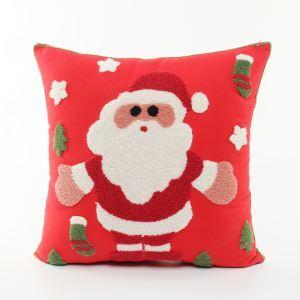 (Entrepôt UE) Père Noël en toile brodé oreiller oreiller canapé coussin bas de Noël