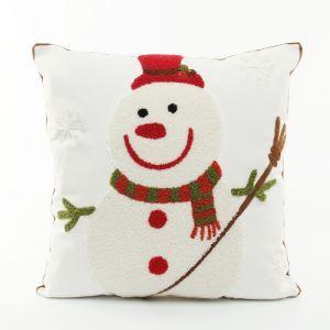 (Entrepôt UE) Noël Bonhomme de neige oreiller toile de broderie coussin coussin de canapé bonhomme de neige
