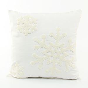 (Entrepôt UE) Flocon de neige de Noël oreiller  chute de toile de broderie coussin coussin de canapé flocon de neige