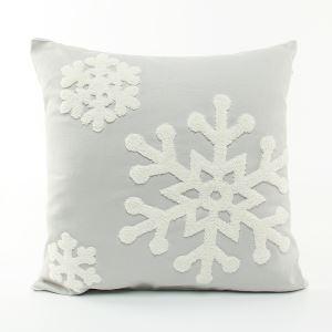 (Entrepôt UE) Noël oreiller chute de toile de broderie coussin coussin de canapé flocon de neige