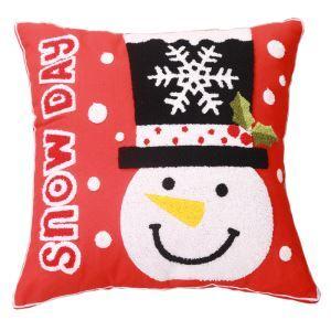 (Entrepôt UE) Noël toile broderie florale brodé oreiller oreiller canapé coussin bonhomme de neige