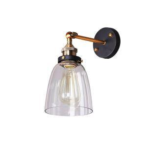 (Entrepôt UE) Style américain rétro rustique en fer personnalité  applique murale une lampe en forme de cloche abat-jour en verre