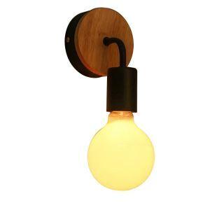 (Entrepôt UE) Applique murale lampe de mur style nordique moderne simple en bois fer