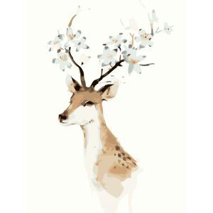 Moderne simple DIY peinture à l'huile peinte à la main fleur de tête de Cerfs peinture décorative 40*50