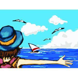 Moderne simple DIY peinture à l'huile peinte à la main paysages Cartoon figures Embrasser la mer  peinture décorative 30*40
