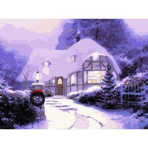 Moderne simple DIY peinture à l'huile peinte à la main Igloos de Noël peinture décorative 30*40