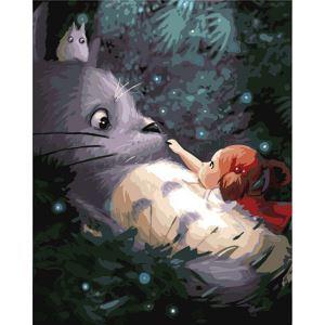 Moderne simple DIY peinture à l'huile peinte à la main Mon voisin Totoro peinture décorative 40*50