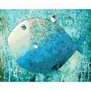 Moderne simple DIY peinture à l'huile peinte à la main poissons dormant peinture décorative 40*50