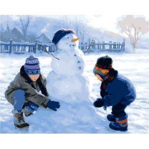 Moderne simple DIY peinture à l'huile peinte à la main De plein air Noël neige peinture décorative 40*50