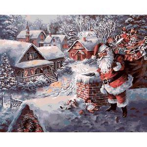 Moderne simple DIY peinture à l'huile peinte à la main De plein air Noël neige & Père Noël peinture décorative 40*50