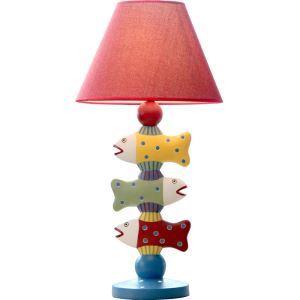 Moderne Simple Lampe de table en forme de Trois poissons Abat-jour en linge(Quatre couleurs)