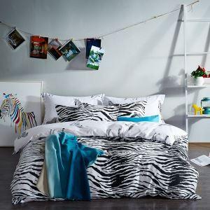 (Entrepôt UE) tomber en amour avec le zèbre Simple coton denim Série de literie en noir et blanc Coton chaud de quatre ensemble 160*210cm