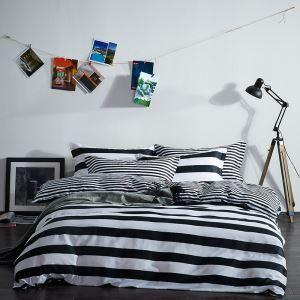 (Entrepôt UE) Simple coton denim Série de literie Coton chaud panda rayure points blanc et noir quatre pièces ensemble 160*210cm